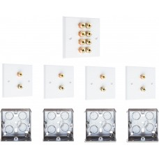 Complete Dolby 4.0 Surround Sound Speaker Wall Plate Kit - No Soldering Required