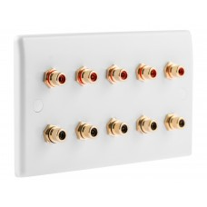 White Slimline 10 x RCA Phono Audio Surround Sound Wall Face Plate - Rear Solder tab Connections