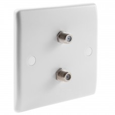 White Satellite F-type Slimline Wall Plate 2 x Nickel plated posts - No Soldering Required