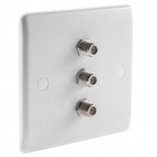 White Satellite F-type Slimline Wall Plate 3 x Nickel plated posts - No Soldering Required
