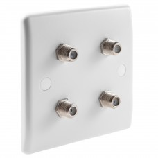 White Satellite F-type Slimline Wall Plate 4 x Nickel plated posts - No Soldering Required