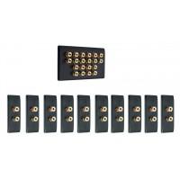 Matt Black 10.0 Surround Sound Audio AV Speaker Wall Face Plate Kit - NON SOLDER