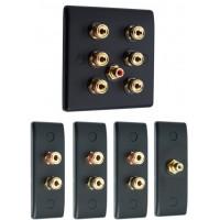Matt Black 3.1 Surround Sound Audio AV Speaker Wall Face Plate Kit - NON SOLDER