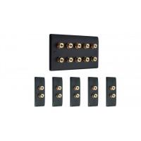 Matt Black 5.0 Surround Sound Audio AV Speaker Wall Face Plate Kit - NON SOLDER