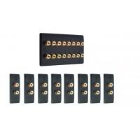 Matt Black 8.0 Surround Sound Audio AV Speaker Wall Face Plate Kit - NON SOLDER