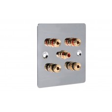 Chrome Polished Flat Plate 2.1 One Gang Speaker Wall Plate 4 Terminals + RCA Phono Socket - No Soldering Required