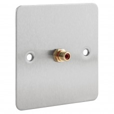 Stainless Steel Brushed Flat Plate - 1 x RCA Phono Audio Wall Plate - 1 Terminal - No Soldering Required
