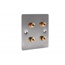 Stainless Steel Brushed Flat plate - 4 Binding Post Speaker Wall Plate - 4 Terminals - No Soldering Required