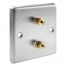Stainless Steel Brushed Raised plate - 2 Binding Post Speaker Wall Plate - 2 Terminals - No Soldering Required