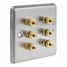 Stainless Steel Brushed Raised plate - 3.0 1 Gang - 6 Binding Post Speaker Wall Plate - 6 Terminals - No Soldering Required