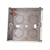 Flush Fit 1 Gang Metal Pattress Back Box For Solid Walls  Extra Deep 47mm