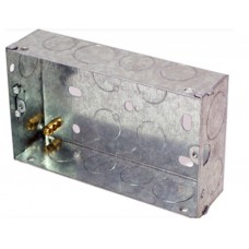Flush Fit 2 Gang Metal Pattress Back Box For Solid Walls  Extra Deep 47mm